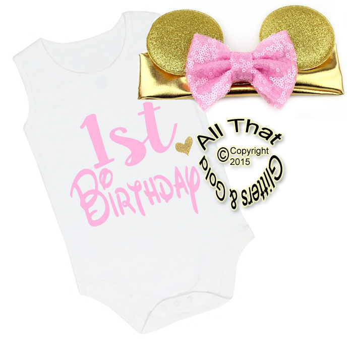 2 Pc Pink and Gold Glitter 1st Birthday Minnie Baby Girl Outfit