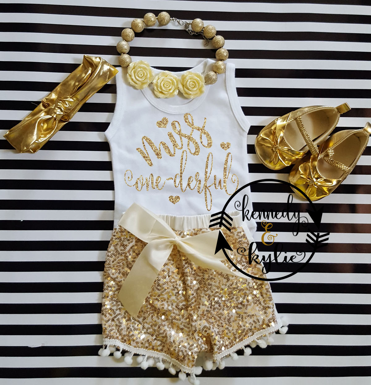 Ivory and Gold Miss One-derful With Gold Sequin Pom Pom Shorts