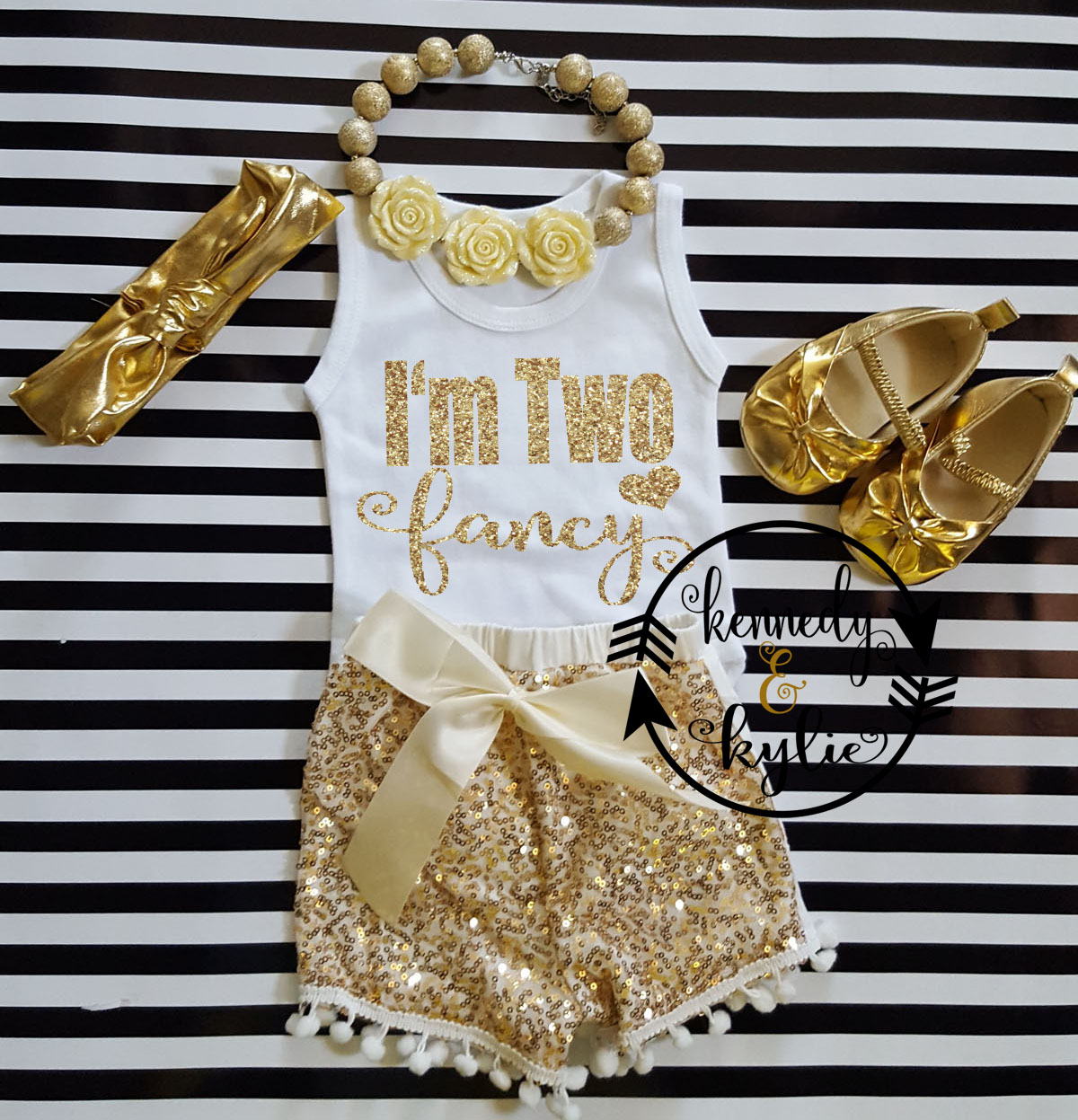 Custom Order for Keisha Ivory and Gold I'm Two Fancy With Gold Sequin Pom Pom Shorts