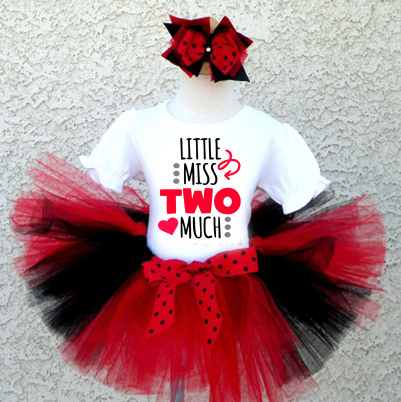 140e2d430ff6 2nd Birthday Outfit Toddler Girl   Miss Two Much Black Red Tutu Set