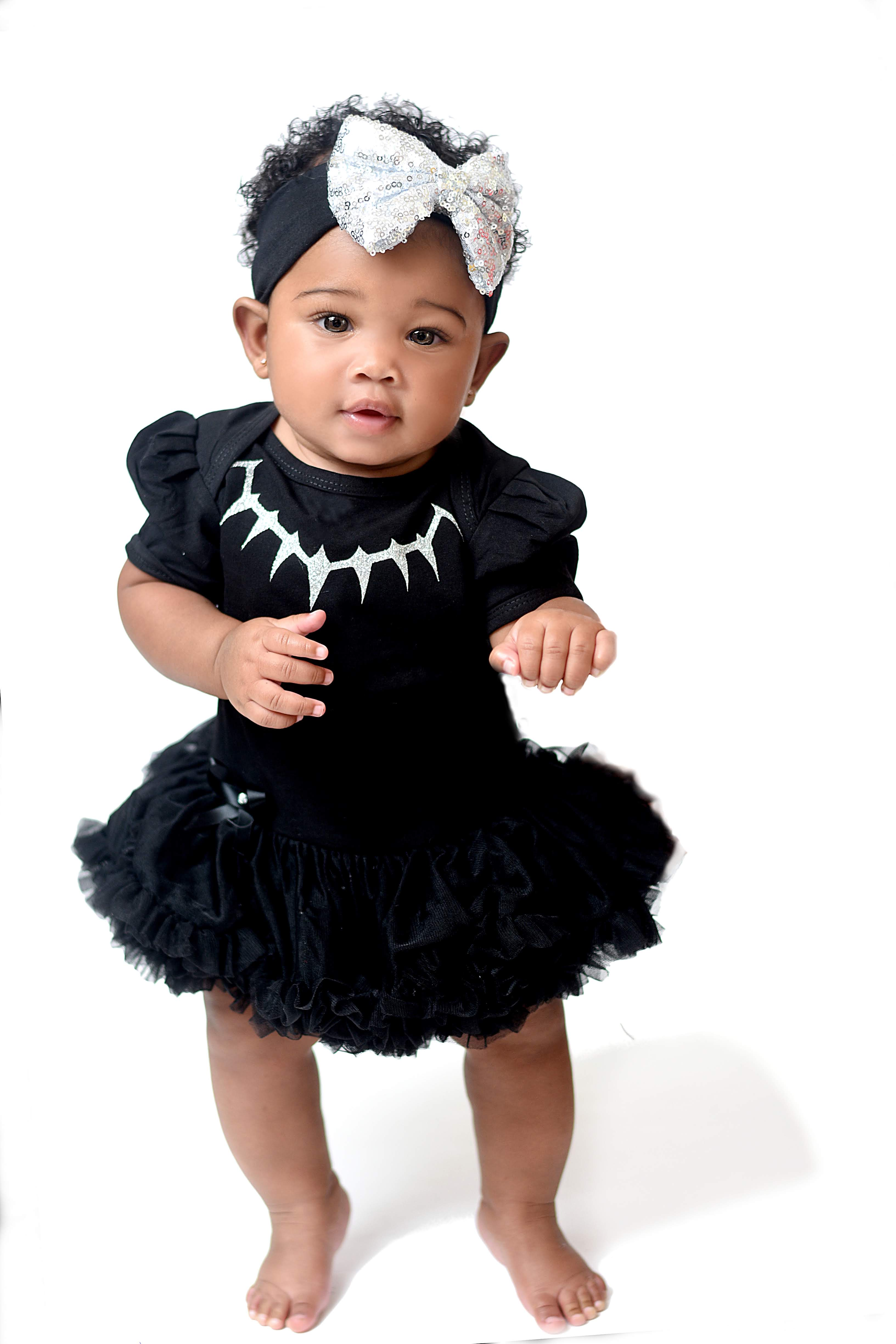 Black Panther Tutu Costume For Baby Girls With a Matching Headband Sizes 0-3 Months to 12-18 Months