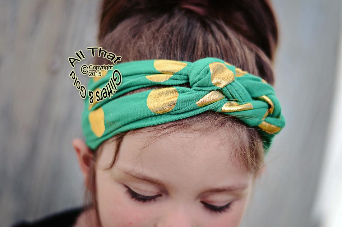 Green and Gold Polka Dot Baby Girls and Little Girls Turban Headbands