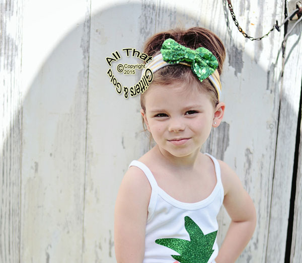Baby and Little Girls Gold and White Striped Green Sequin 4.5 Inch Big Bow Headbands