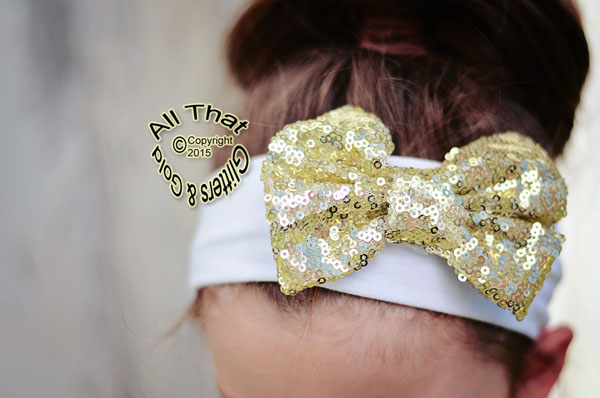 Baby and Little Girls White and Gold Sequin 4 Inch Big Bow Headbands
