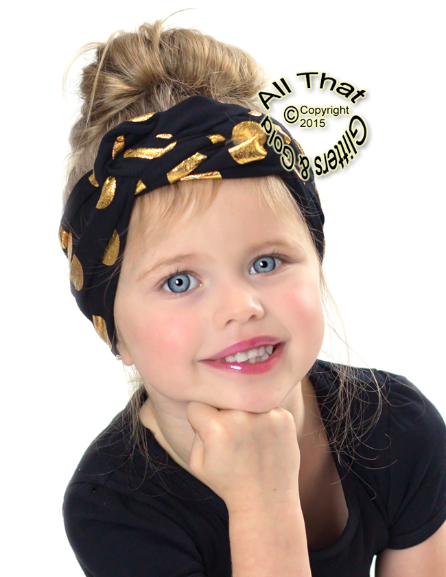 Black and Gold Polka Dot Baby Girls and Little Girls Turban Headbands
