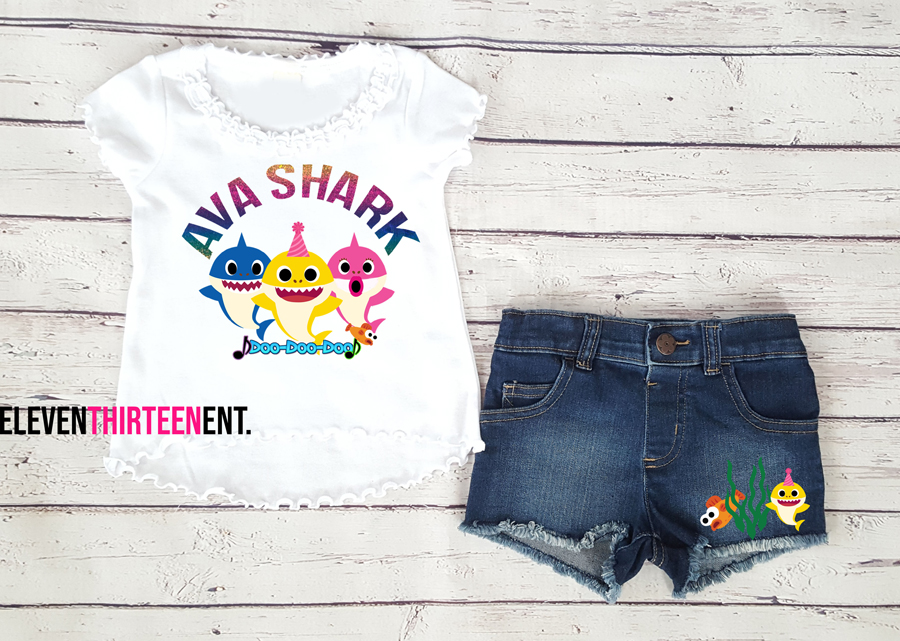 Baby Shark Birthday Outfit With Denim Shorts For Girls