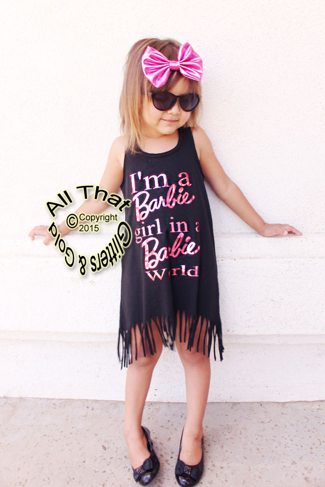 I'm a Barbie Girl In A Barbie World Baby Girls and Litttle Girls Fringe Dress