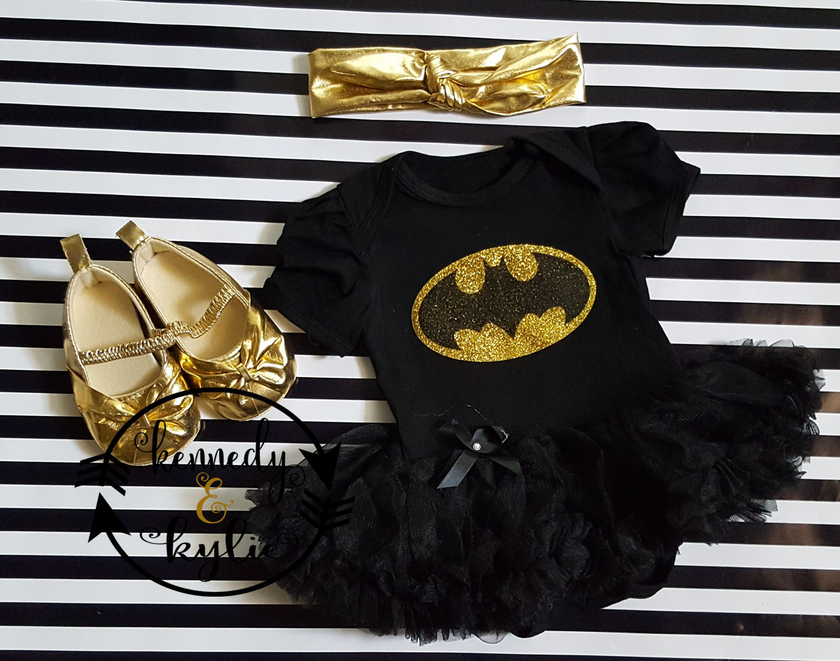 Glitter Batgirl 2 Piece Tutu Onesie Set For Baby Girls