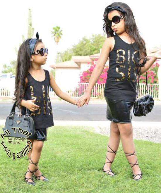 Leopard Print Big Sister And Little Sister Shirts Outfits Clothing