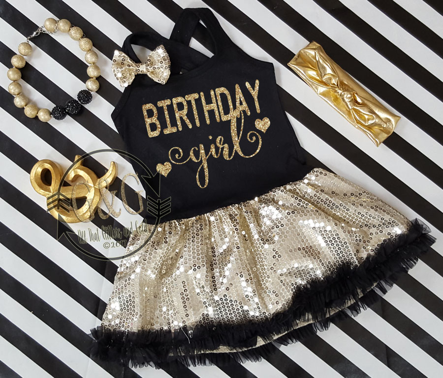 Black and Gold Sequin Birthday Girl Tutu Dresses For Toddler Girls Ages 1-4