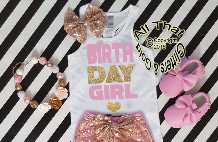 Cute Pink And Gold Birthday Girl Shirt For Baby Girls