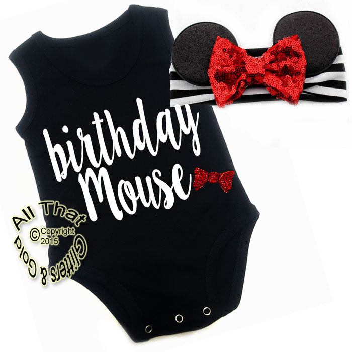 2 Pc Black, White and Red Glitter Birthday Mouse Girls Birthday Outfit