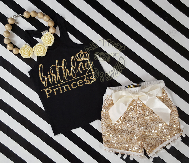 Custom Order for Emily  Black and Gold Birthday Princess Outfit With Gold Sequin Shorts