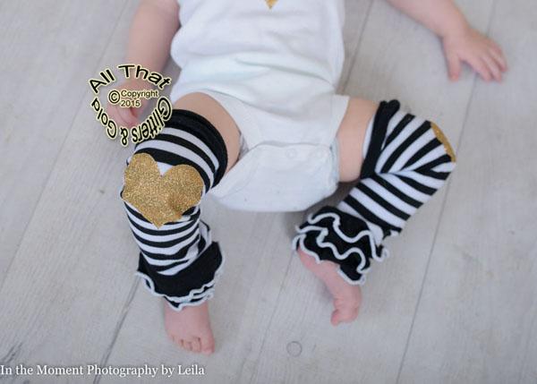 Black and White Striped Gold Glitter Heart Baby Girls Leg Warmers