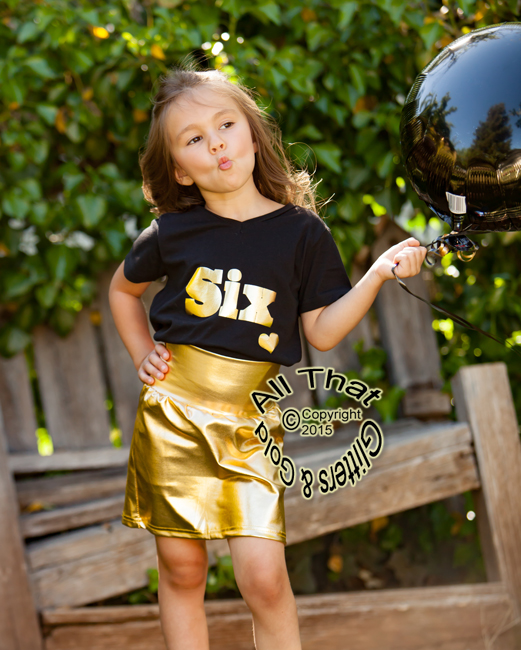 Gold Metallic Pencil Skirts For Girls