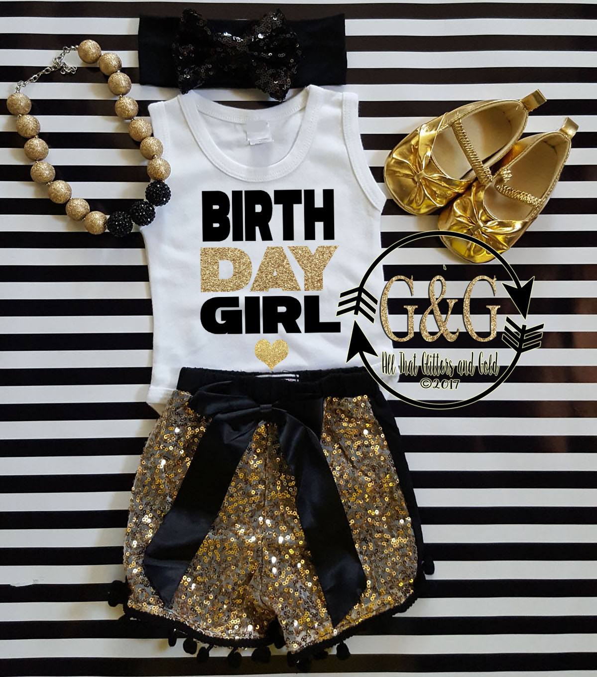 Black and Gold Birthday Girl Outfit With Black Sequin Shorts Ages 1-6