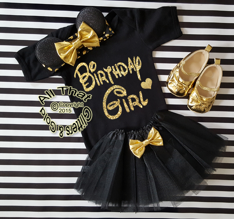 c2ae54bed700f Black and Gold Glitter Birthday Girl Minnie Birthday Tutu Outfit Age 1 to 6