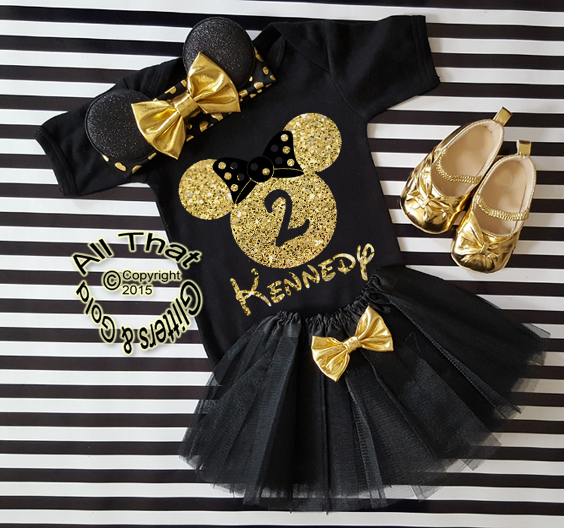 Black and Gold Glitter Birthday Minnie Birthday Tutu Outfit Age 1 to 6