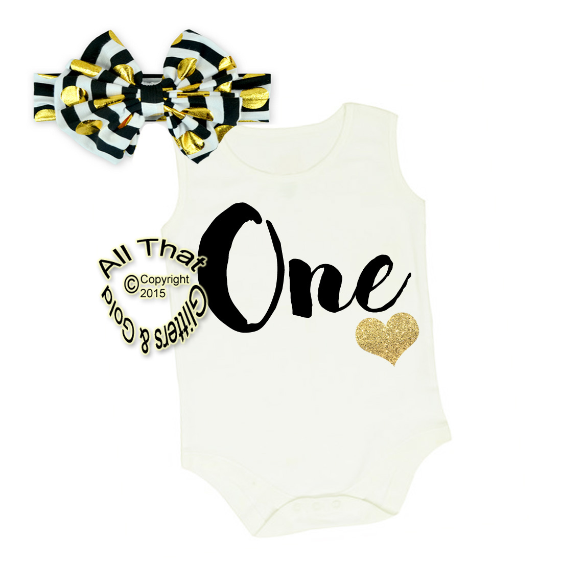 Black and Gold One Year Old Shirt or Outfit For 1st Birthday