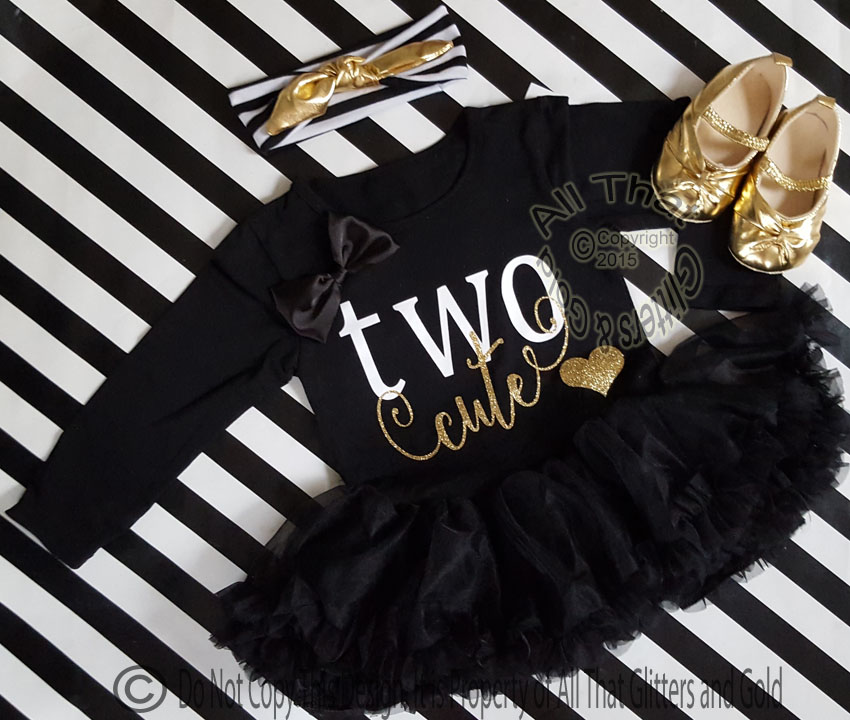 Black White And Gold Two Cute Year Old Birthday Tutu Dresses For Toddler Girls