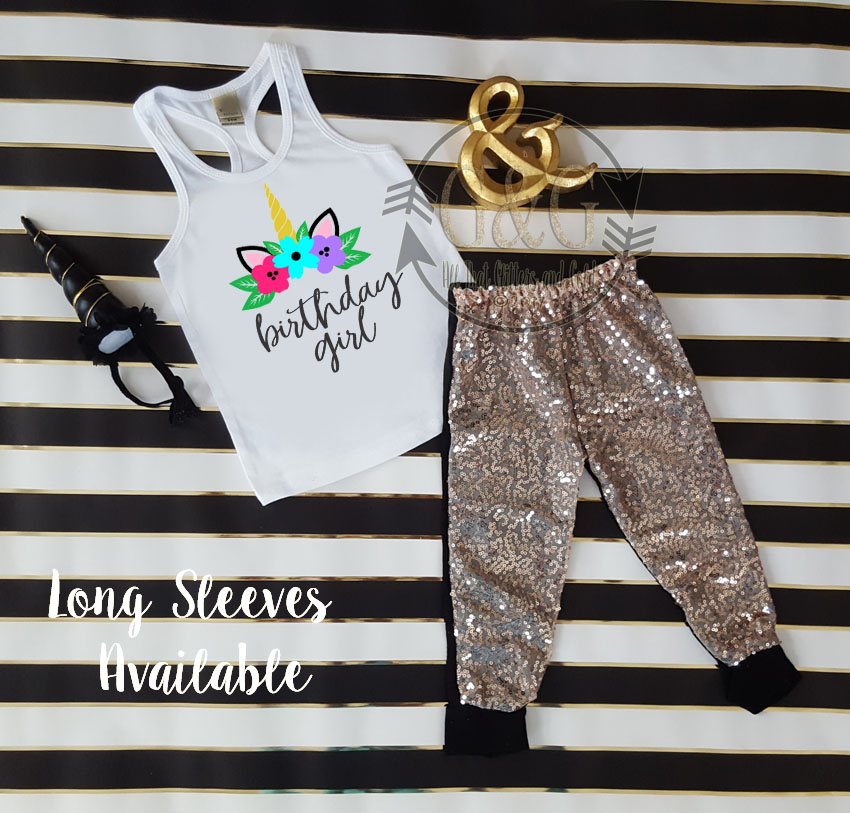 Black Unicorn Birthday Girl Sequin Birthday Pants Outfit Ages 1-6