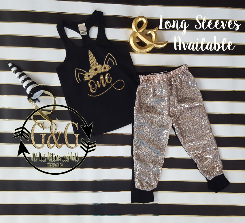 Black and Gold Glitter Unicorn Sequin Birthday Pants Outfit Ages 1-6