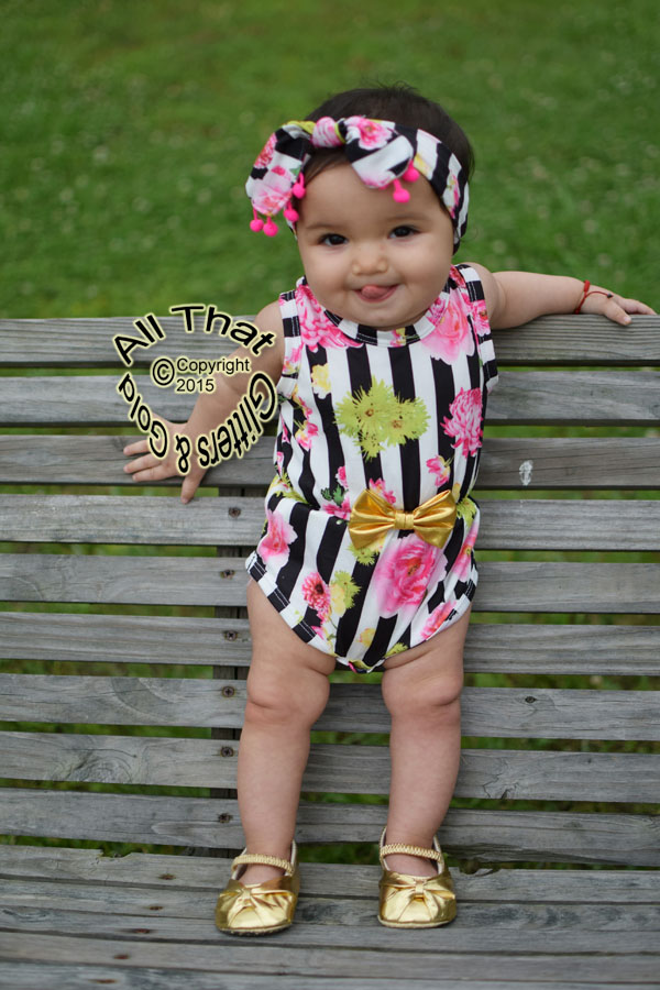 Black, White and Floral Baby Girls & Little Girls Tank Sleeveless Bodysuits Rompers