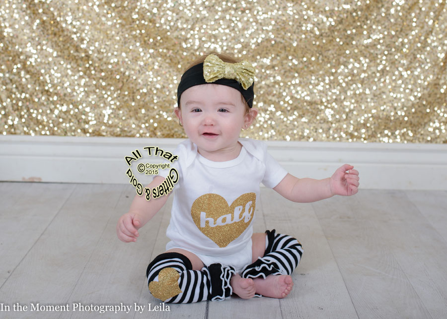Black, White and Gold Glitter Half Baby Girl Birthday Outfit