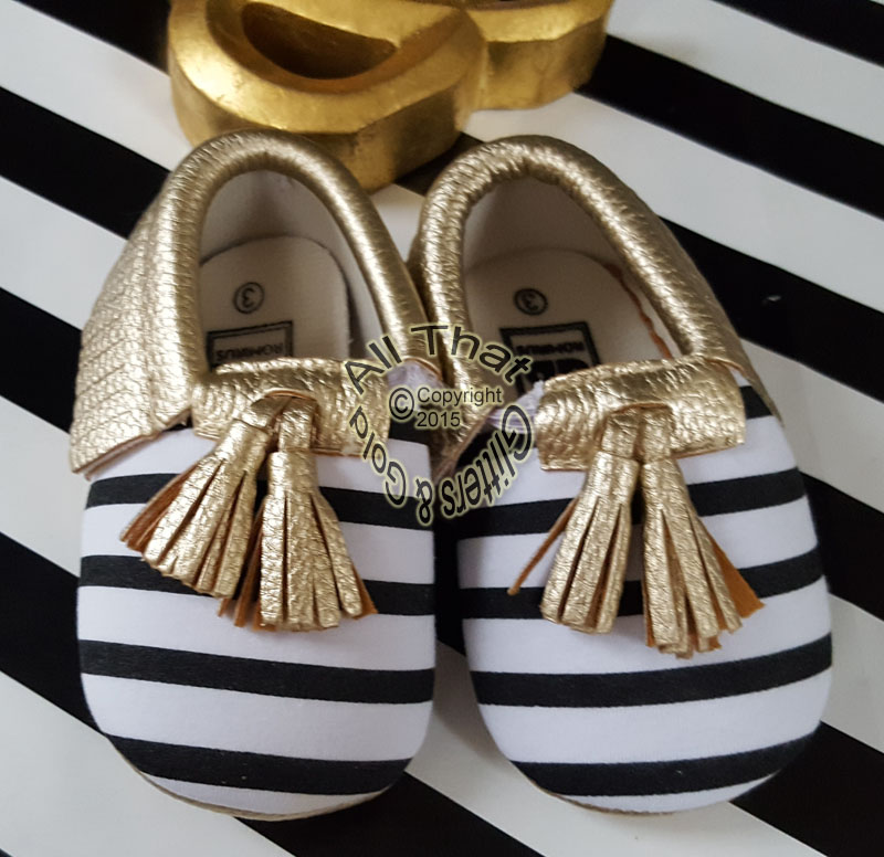 Gold, Black and White Striped Soft Soled Baby Girl Moccasin Shoes With Tassels