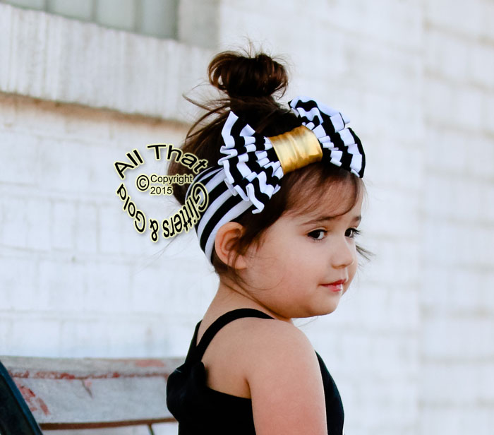 Black White and Gold Striped Baby and Little Girls Big Bow Headbands 8a9f44cc996