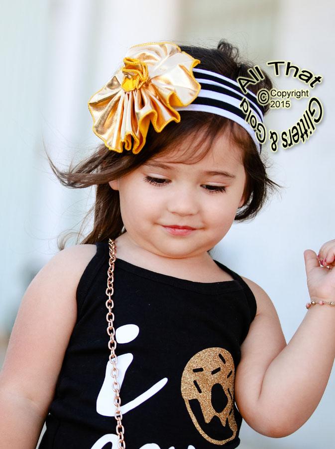 Black White and Gold Big Metallic Gold Flower Baby Little Girls Headbands