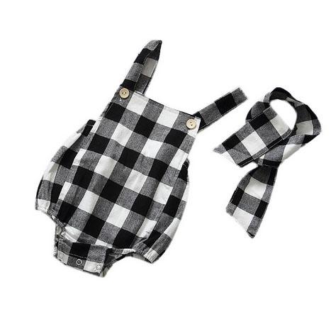 Plaid Baby Girls & Little Girls Tank Sleeveless Bodysuits Romper Set