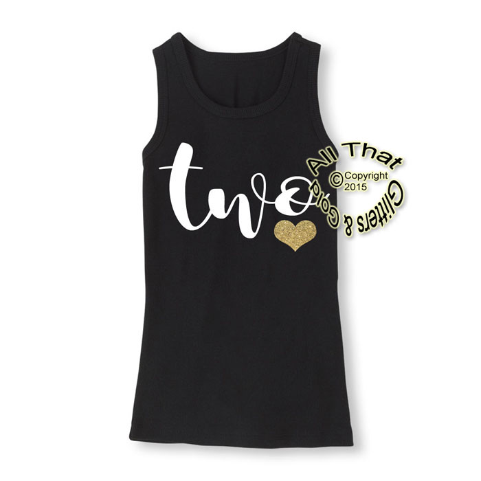 Onefun 23 Black White And Gold Glitter Two Year Old Birthday Shirts For Toddler Girls