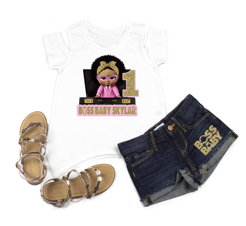 Boss Baby Girl 1st Birthday Outfit With Denim Shorts For Girls - Pink and Gold Briefcase