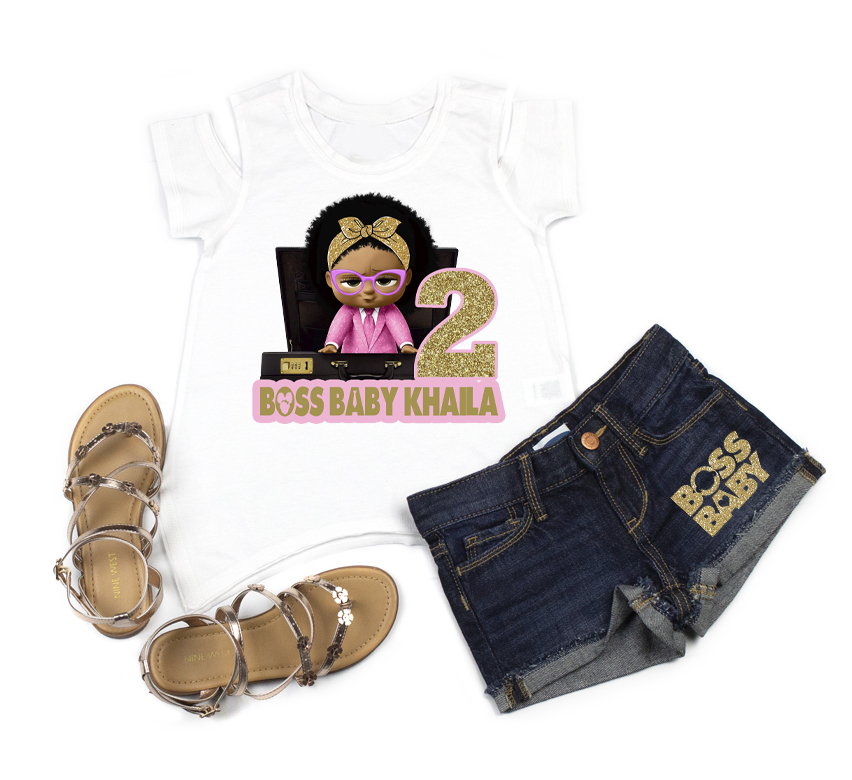 Boss Baby Girl 2nd Birthday Outfit With Denim Shorts For Girls - Pink and Gold Briefcase