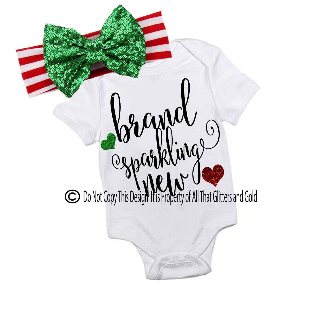 Glitter Brand Sparkly New Handmade Christmas Outfit For Baby Girls