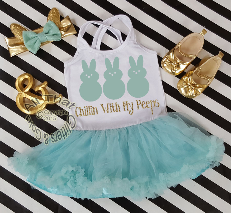 Mint and Gold Glitter 2pc Chillin With My Peeps Tutu Dresses For Toddler Girls Age 1-4