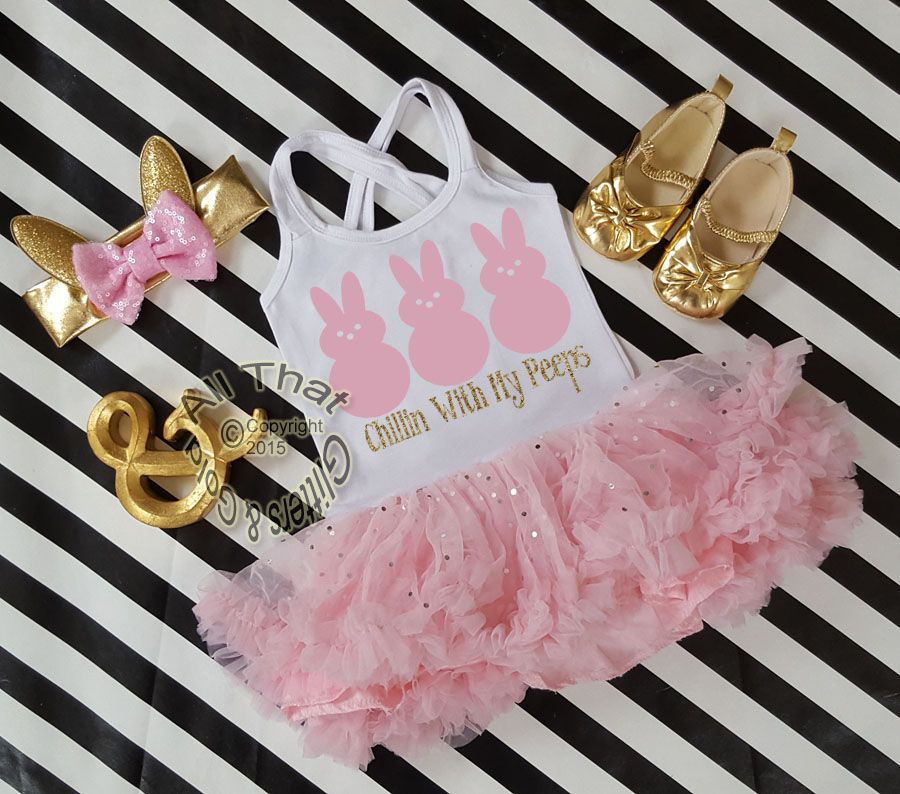 Pink and Gold Glitter 2pc Chillin With My Peeps Tutu Dresses For Toddler Girls Age 1-4