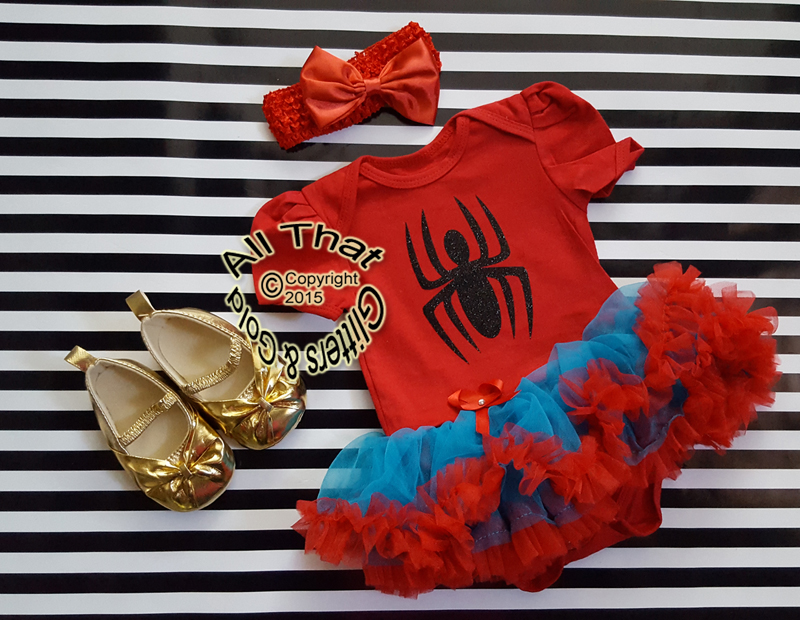 Cute 2 Piece Spiderman Tutu Onesie Outfit For Baby Girls