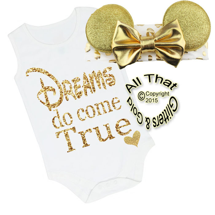 2 Pc White and Gold Glitter Dreams Do Come True Minnie Inspired Girls Outfit