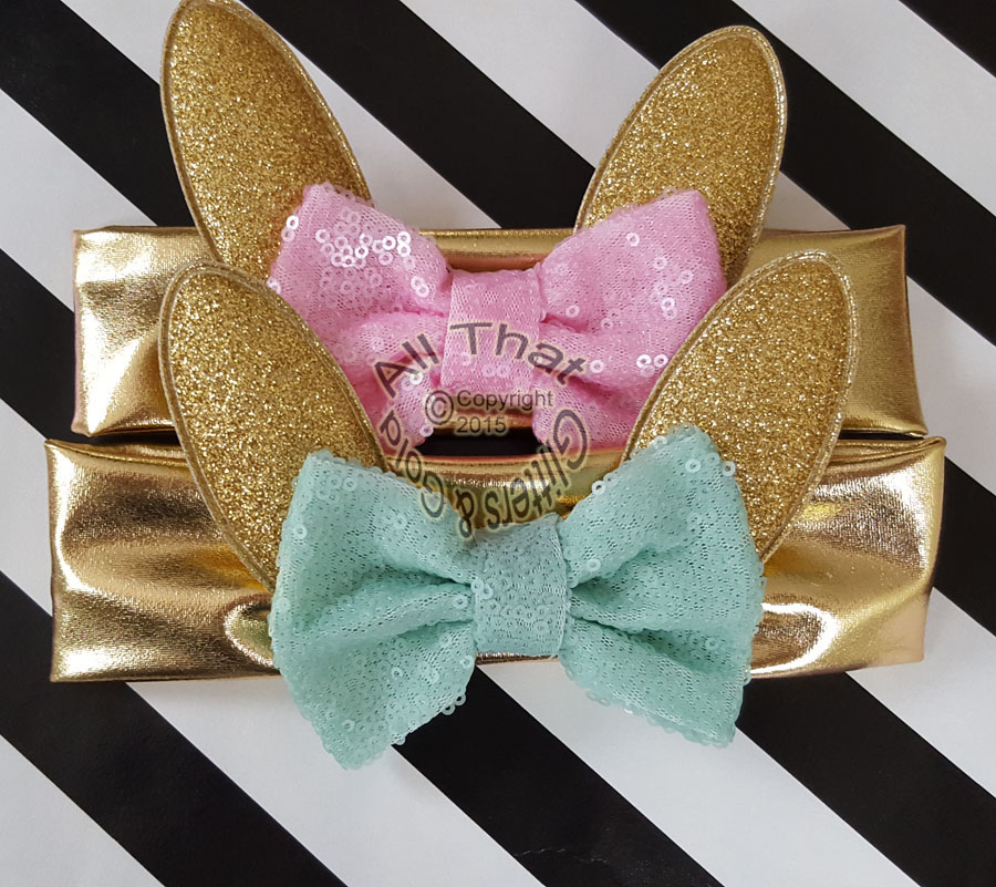 Gold Glitter Bunny Ears Baby and Little Girls Big Bow Headbands