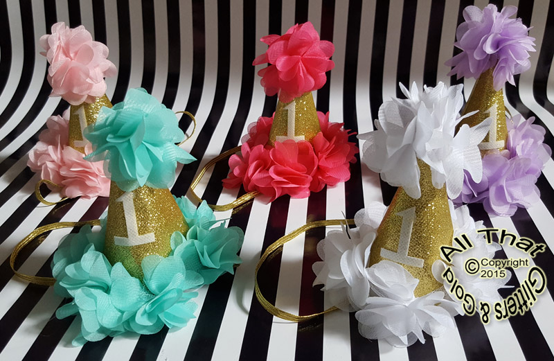 Gold Glitter First Birthday Party Hat Headband With Flowers