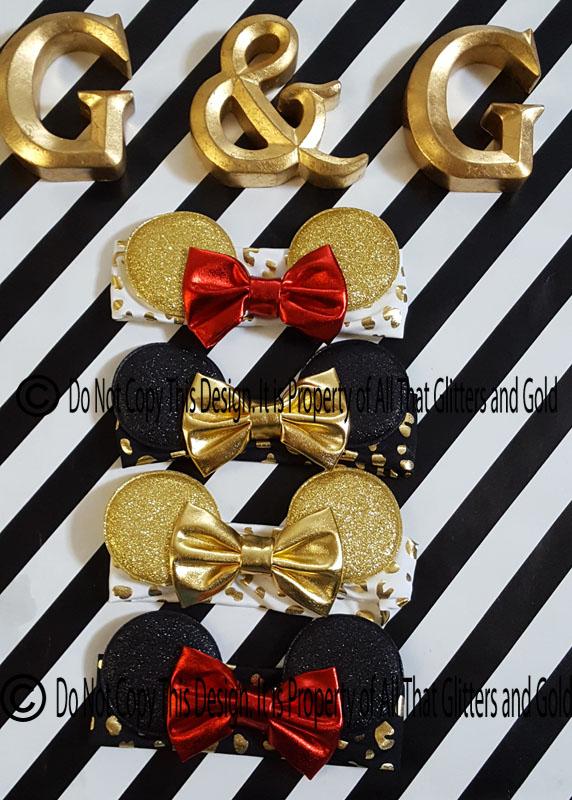 Metallic Glitter Diva Leopard Print Minnie Ears Baby and Little Girls Big Bow Headbands