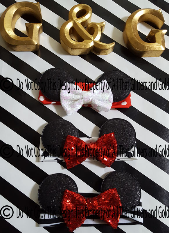 Sequin Glitter Mouse Ears Baby and Little Girls Big Bow Headbands