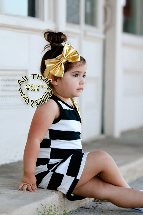Metallic Gold Baby and Little Girls Big Bow Headbands