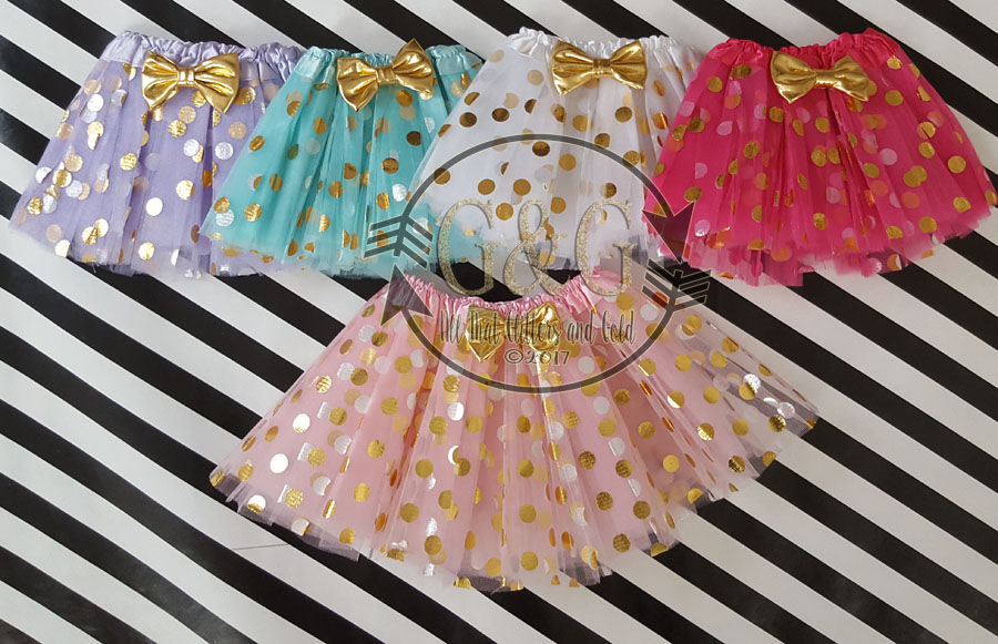 Gold Polka Dot Tutu Skirts For Baby Girls Toddler Little