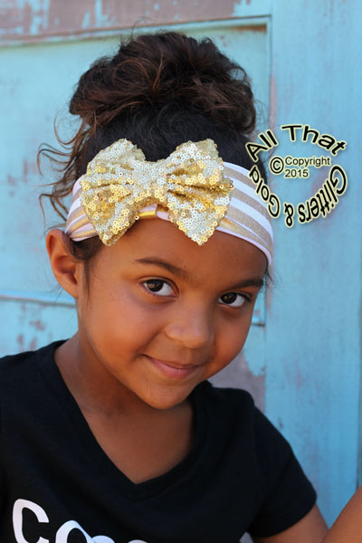 Baby and Little Girls Gold and White Striped Sequin 4.5 Inch Big Bow Headbands