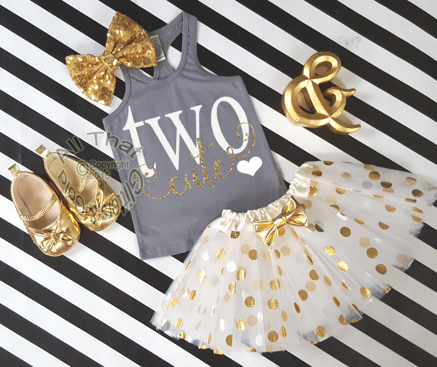 Grey and Gold Two Cute Birthday Polka Dot Tutu Outfit