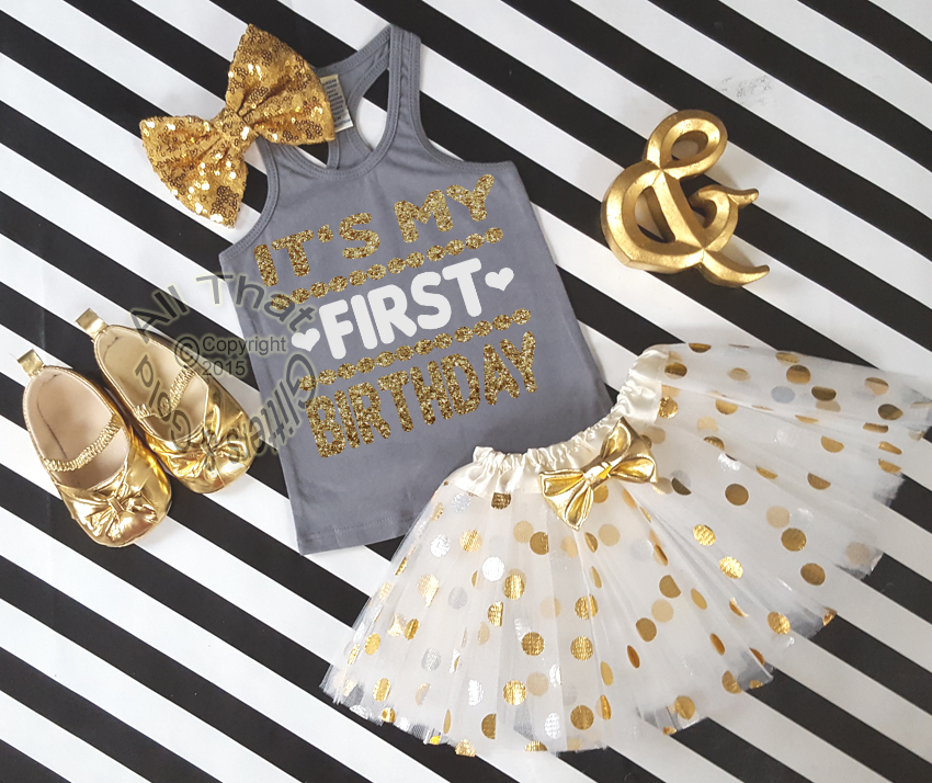 7eed3bde1 Cute My First One Year Old Birthday Outfits - Grey Gold Tutu Sets ...