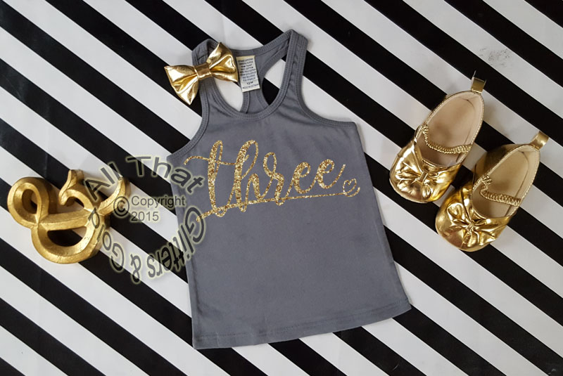 Glitter Birthday Age With Heart Shirts For All Ages